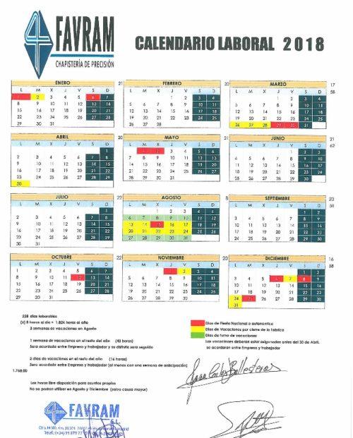 Calendario Oficial 2018 FAVRAM